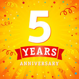 5 years anniversary logo celebration card. 5th years anniversary vector background with red ribbon and colored confetti on yellow flash radial lines Royalty Free Stock Photo