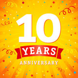 10 years anniversary logo celebration card. 10th years anniversary vector background with red ribbon and colored confetti on yellow flash radial lines Stock Photos