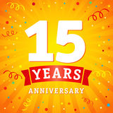 15 years anniversary logo celebration card. 15th years anniversary vector background with red ribbon and colored confetti on yellow flash radial lines Stock Photo