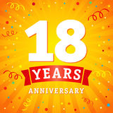 18 years anniversary logo celebration card. 18th years anniversary vector background with red ribbon and colored confetti on yellow flash radial lines Stock Photography