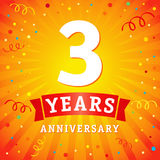 3 years anniversary logo celebration card. 3th years anniversary vector background with red ribbon and confetti on yellow flash radial lines Royalty Free Stock Images