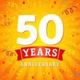 50 years anniversary logo celebration card. 50th years anniversary vector background with red ribbon and colored confetti on green flash radial lines Stock Photos