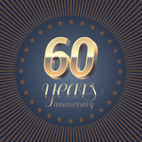 60 years anniversary logo. Decoration design element with medal and 3D number for 60th anniversary Stock Illustration