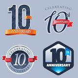 10 Years Anniversary Logo. A Set of Symbols Representing a Tenth Anniversary/Jubilee Celebration stock illustration