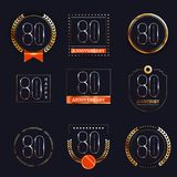 80 years anniversary logo set. Vector illustration Royalty Free Stock Image