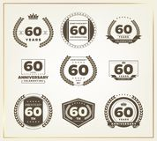 60 years anniversary logo set. Vector illustration Stock Photo