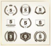 5 years anniversary logo set. Vector illustration royalty free illustration
