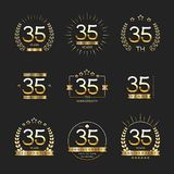 35 years anniversary logo set. Vector illustration Royalty Free Stock Photography