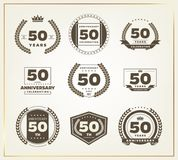 50 years anniversary logo set. Vector illustration royalty free illustration
