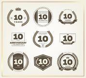 10 years anniversary logo set. Vector illustration Stock Photo