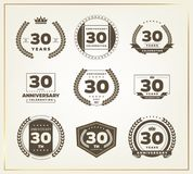 30 years anniversary logo set. Vector illustration Royalty Free Stock Photos