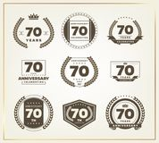70 years anniversary logo set. Vector illustration Royalty Free Stock Images
