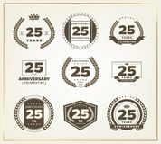 25 years anniversary logo set. Vector illustration Royalty Free Stock Images
