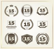 15 years anniversary logo set. Vector illustration Stock Photography