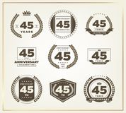 45 years anniversary logo set. Vector illustration Stock Illustration