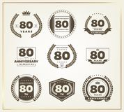 80 years anniversary logo set. Vector illustration Stock Photo