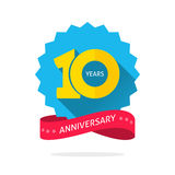 10 years anniversary logo template with shadow on blue color rosette and number. 10th anniversary icon label with ribbon, ten year birthday symbol isolated on Stock Images