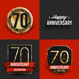 70 years anniversary logos on red and black backgrounds. Vector illustration Royalty Free Stock Photo