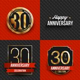 30 years anniversary logos on red and black backgrounds. Vector illustration Stock Images