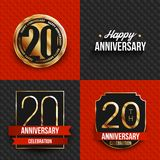 20 years anniversary logos on red and black backgrounds. Vector illustration Vector Illustration