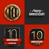 10 years anniversary logos on red and black backgrounds. Vector illustration vector illustration