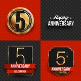 5 years anniversary logos on red and black backgrounds. Vector illustration stock illustration
