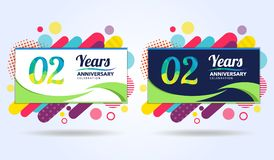 02 years anniversary with modern square design elements, colorful edition, celebration template design, pop celebration template. Design stock illustration