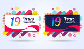 19 years anniversary with modern square design elements, colorful edition, celebration template design, pop celebration template. Design stock illustration