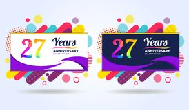 27 years anniversary with modern square design elements, colorful edition, celebration template design, pop celebration template. Design vector illustration