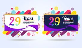 29 years anniversary with modern square design elements, colorful edition, celebration template design, pop celebration template. Design royalty free illustration