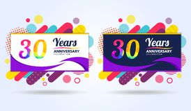 30 years anniversary with modern square design elements, colorful edition, celebration template design, pop celebration template. Design vector illustration