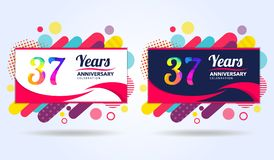 37 years anniversary with modern square design elements, colorful edition, celebration template design, pop celebration template. Design stock illustration