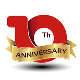 10 years anniversary, red number with golden ribbon. Illustration stock illustration