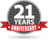 21 years anniversary retro label with red ribbon, vector illustr. Ation Stock Images