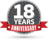 18 years anniversary retro label with red ribbon, vector illustr. Ation Stock Photo