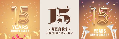 15 years anniversary set of vector icon, symbol. Graphic design element. With festive golden background for 15th anniversary stock illustration