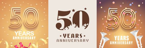 50 years anniversary set of vector icon, symbol. Graphic design element. With festive golden background for 50th anniversary stock illustration