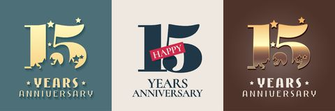15 years anniversary set of vector icon, symbol, logo. Graphic design elements for 15th anniversary birthday card vector illustration