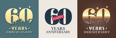 60 years anniversary set of vector icon, symbol, logo. Graphic design elements for 60th anniversary birthday card royalty free illustration