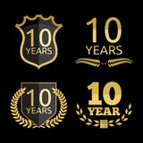 10 years anniversary set. Vector illustrations of the 10 years anniversary set Royalty Free Stock Photos