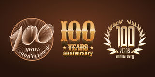 100 years anniversary set of vector logo, icon, number Stock Photos
