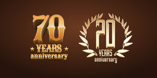 70 years anniversary set of vector logo, icon, number Royalty Free Stock Photo