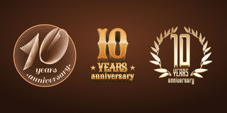 10 years anniversary set of vector logo, icon, number Royalty Free Stock Images
