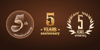 5 years anniversary set of vector logo, icon, number Stock Photo
