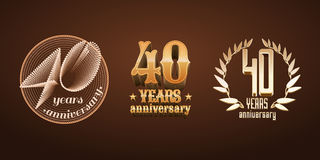 40 years anniversary set of vector logo, icon, number Stock Image