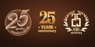 25 years anniversary set of vector logo, icon, number Stock Photos