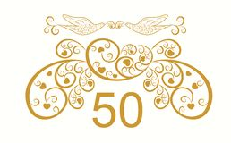 50 years anniversary signs and cards  design Royalty Free Stock Image
