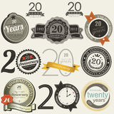 20 years anniversary signs and cards  design Royalty Free Stock Photography