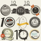10 years anniversary signs and cards  design Stock Photography