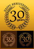 30 years anniversary signs with laurel wreaths. Laurel wreathes in three variations for anniversary and heraldry design with text Happy Anniversary 30 years Stock Images